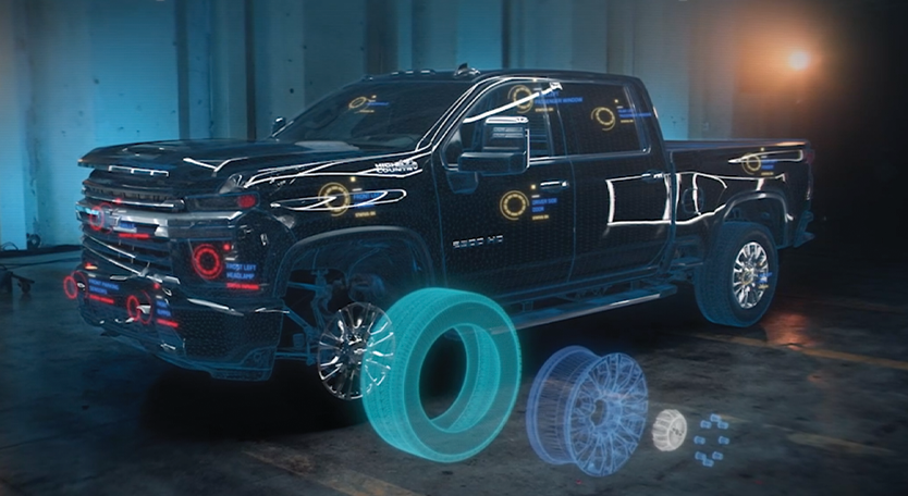 Chevrolet Truck with Collision Part Holograms