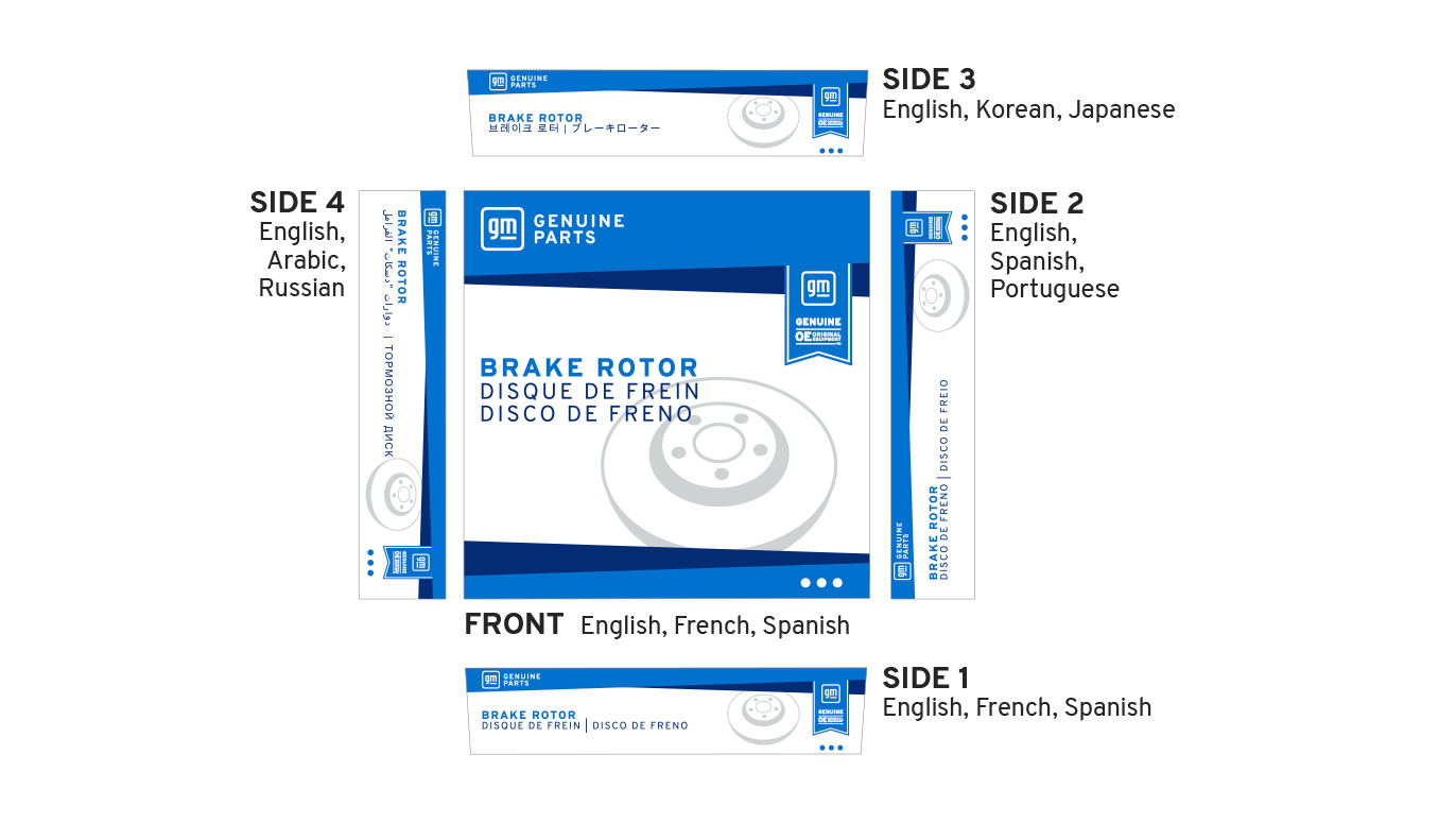 ACDelco Parts Packaging with Multiple Language Translations